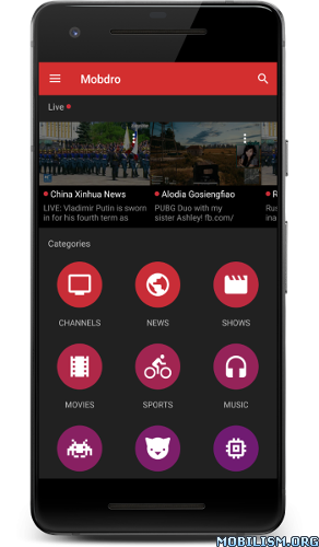 Mobdro v2.1.98 Freemium - Free Video Streams